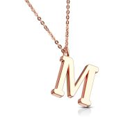 Chain letter pendant rose gold stainless steel ladies