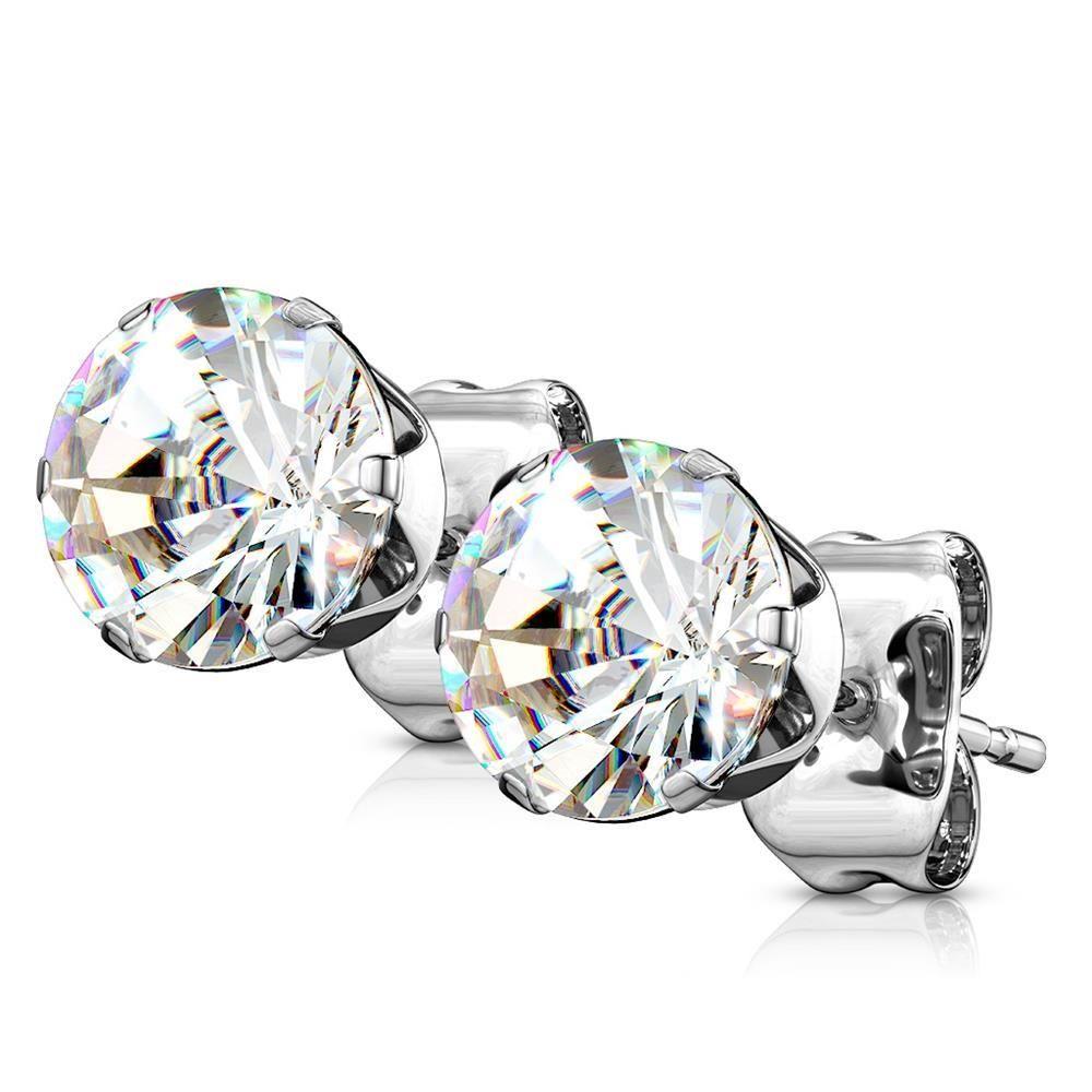 CC Kristallklar - Ohrstecker Zirkonia Silber aus Edelstahl Damen