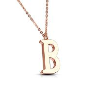 B - chain letter pendant rose gold stainless steel ladies B