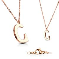 C - chain letter pendant rose gold stainless steel ladies C