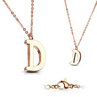 D - chain letter pendant rose gold stainless steel ladies D