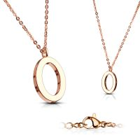 O - chain letter pendant rose gold stainless steel ladies O
