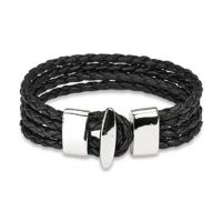 Bracelet 4 ropes black made of leather with stainless...