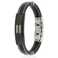 Bracelet equal sign black made of rubber unisex
