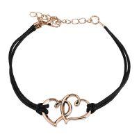 Bracelet 2 hearts in leather unisex