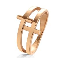 Ring crosses rose gold stainless steel ladies