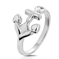 Ring anchor silver stainless steel unisex