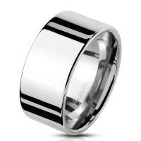 Ring wide silver stainless steel men