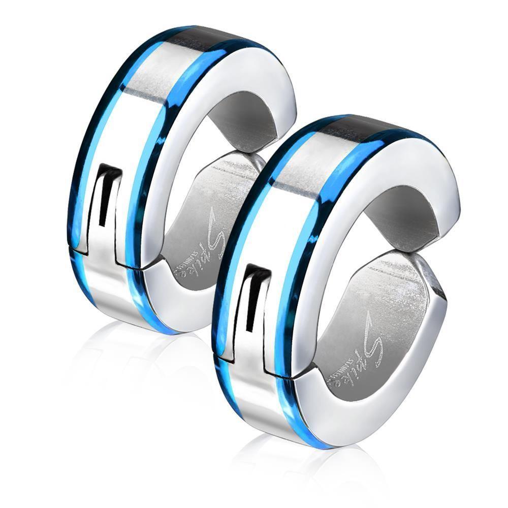 Blau - Creolen mit Metallrand Silber aus Edelstahl Unisex
