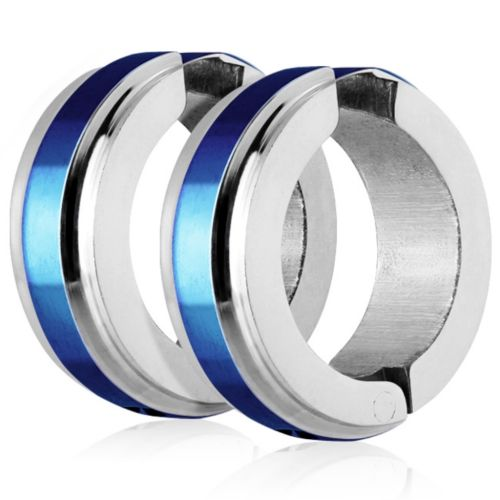Blue - hoop earrings with a central ring made of stainless steel unisex