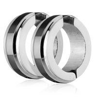 Schwarz - Creolen mit Mittelring Silber aus Edelstahl Unisex