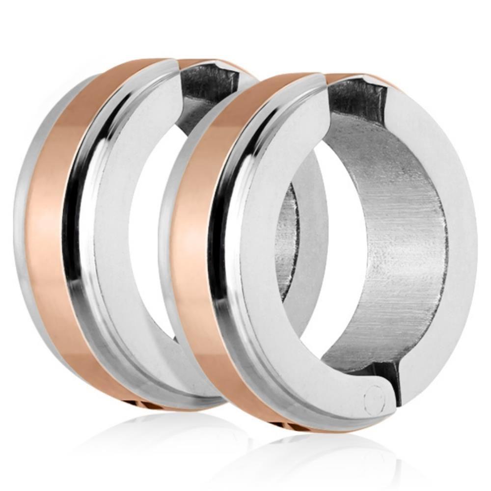 Rose Gold - Creolen mit Mittelring Silber aus Edelstahl Unisex