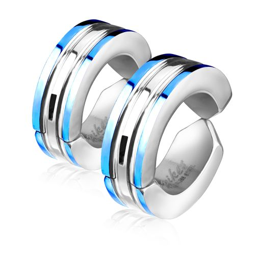 Blue - hoop colored outer rings silver made of stainless steel unisex