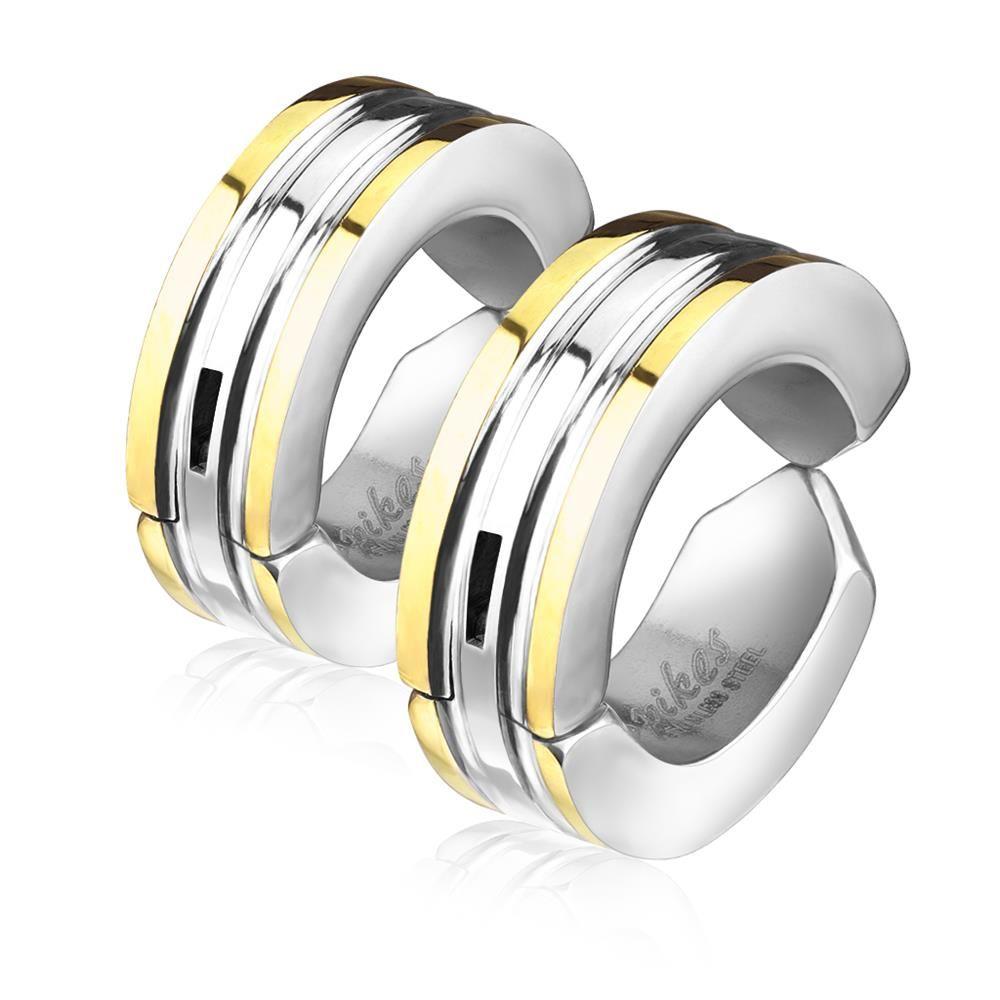 Gold - Creolen farbige Außenringe Silber aus Edelstahl Unisex