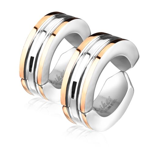 Rose gold - hoops colored outer rings silver made of stainless steel unisex