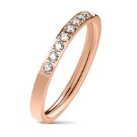 60 (19.1) rose gold ring narrow 8 crystals stainless...