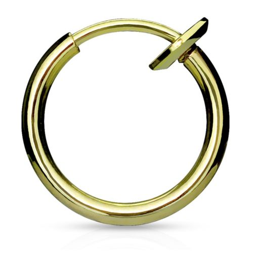 Gold - fake piercing ring with spring clasp silver made of stainless steel unisex