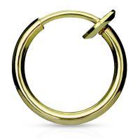 Gold - Fake Piercing Ring mit Springverschluss Silber aus...