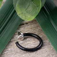 Black - fake piercing ring with spring clasp silver made...