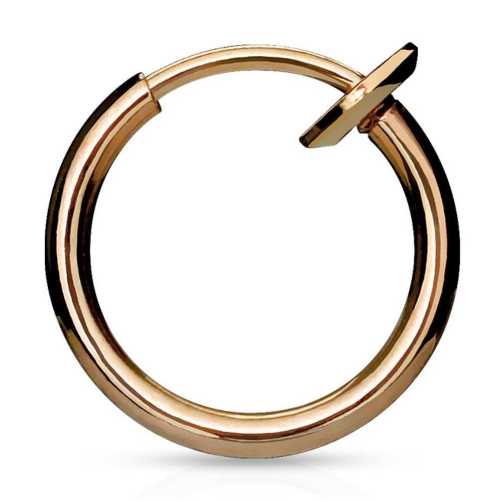 Rosegold - Fake Piercing Ring mit Springverschluss Silber aus Edelstahl Unisex