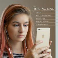Silber - Fake Piercing Ring mit Springverschluss Silber aus Edelstahl Unisex
