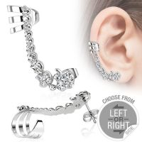 Left - ear clip crystal chain silver made of stainless...