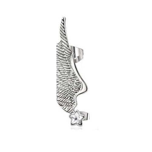 Left - ear clip angel wing silver made of stainless steel women