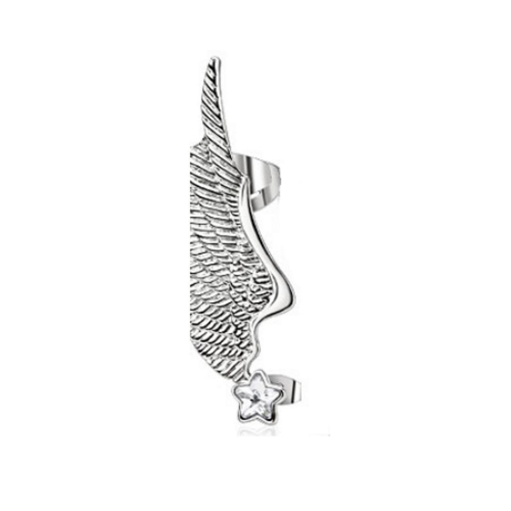 Rechts - Ohrklemme Engelsflügel Silber aus Edelstahl Damen