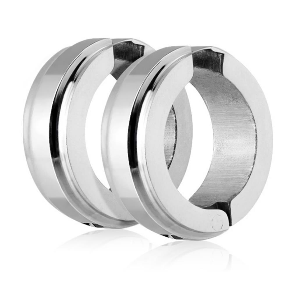 Silber - Creolen mit Mittelring Silber aus Edelstahl Unisex