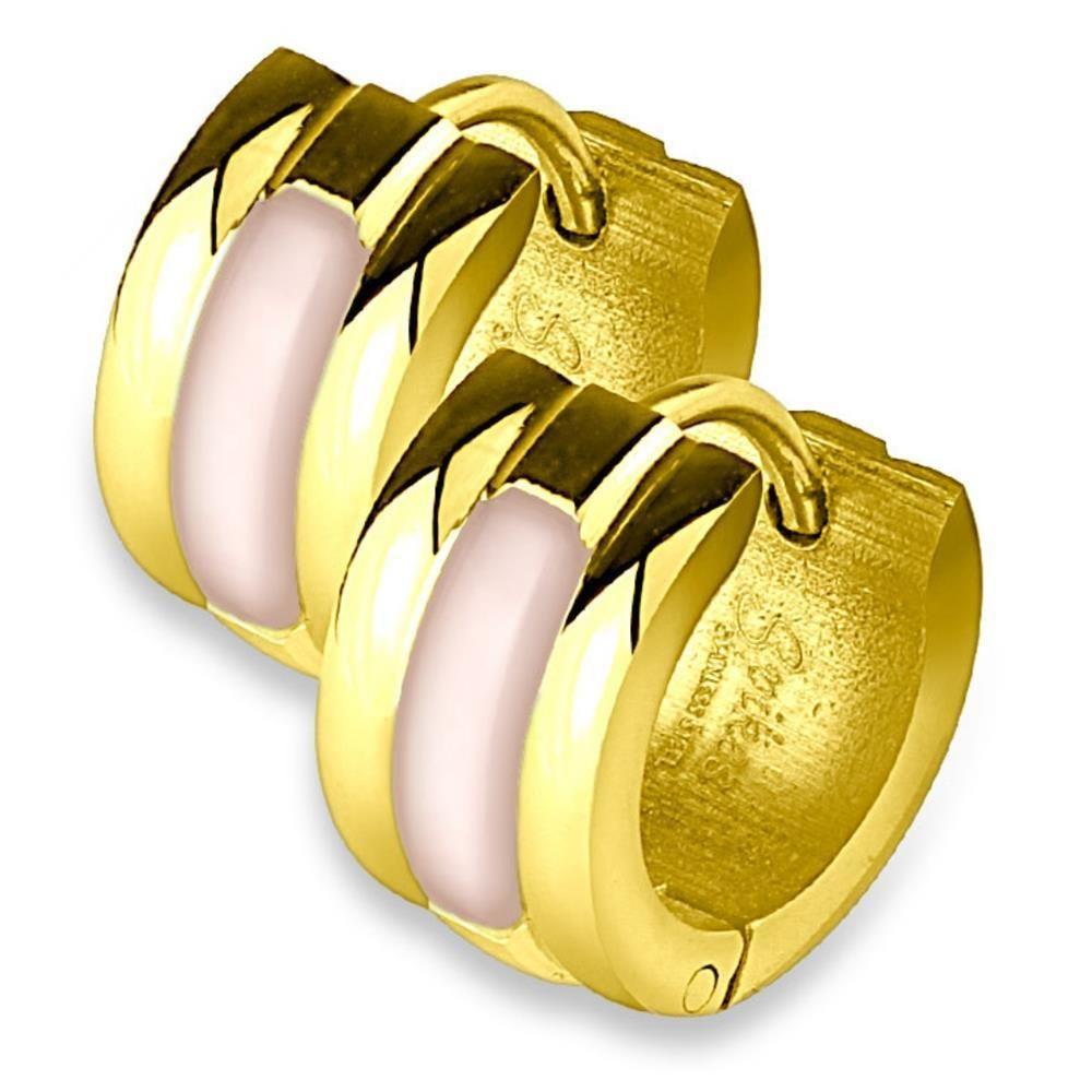 Gold - Creolen Schalen Inlay Silber aus Edelstahl Unisex