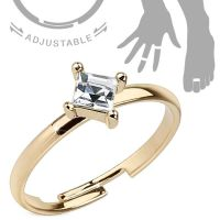 Toe ring crystal gold brass unisex