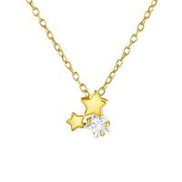 Chain stars with crystal gold colored 925 silver ladies