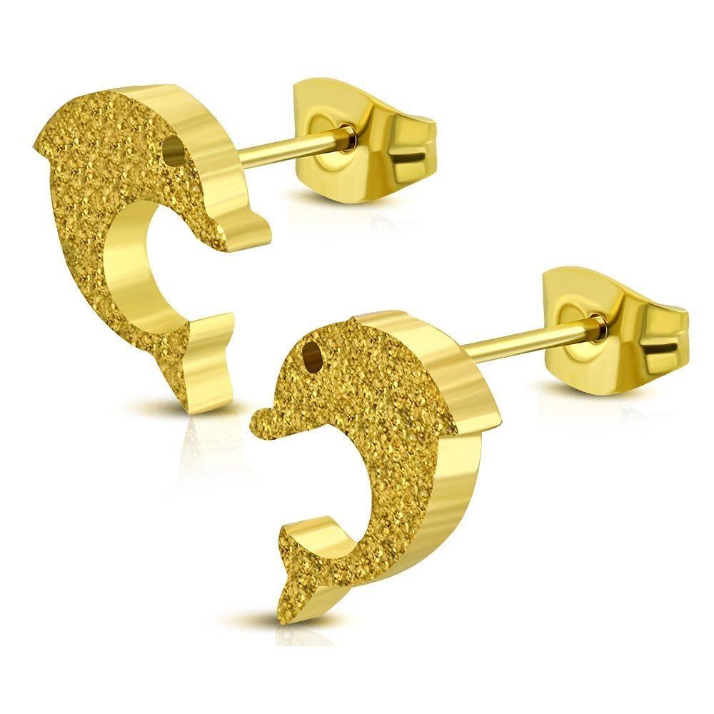 Ohrstecker Delfin goldfarben aus Edelstahl Damen
