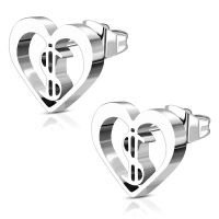 Ohrstecker Herz&Dollarzeichen Silber aus Edelstahl Damen