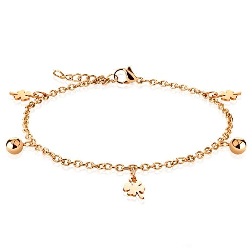 Charm bracelet shamrock & ball rose gold made of stainless steel women