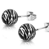 Ohrstecker Perle Zebramuster 10mm Silber aus Edelstahl Damen