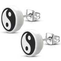 Ohrstecker Yin&Yang rund 10mm Silber aus Edelstahl Damen