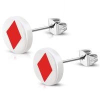 Studs playing card colors silver made of stainless steel...