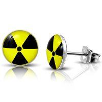 Ohrstecker rund Radioaktivität Silber aus Edelstahl...