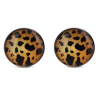 Ohrstecker rund Leopard Silber aus Edelstahl Damen
