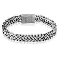 Bracelet solid with magnetic clasp silver made of stainless steel men