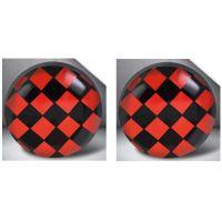 Ohrstecker rund Schachbrett rot Silber aus Edelstahl Unisex