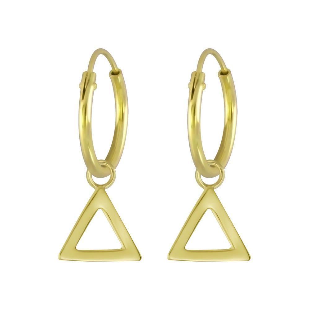 Creolen Dreieck-Anhänger aus 925 Silber Damen gold