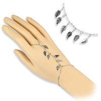 Hand chain leaves charms silver brass ladies