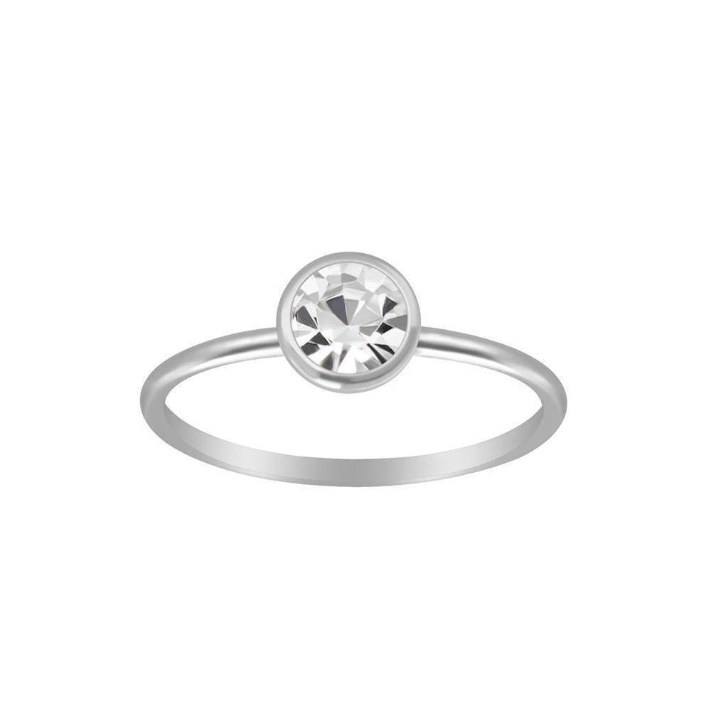 Ring mit rundem Kristall aus 925 Silber Damen 49 (15,6)