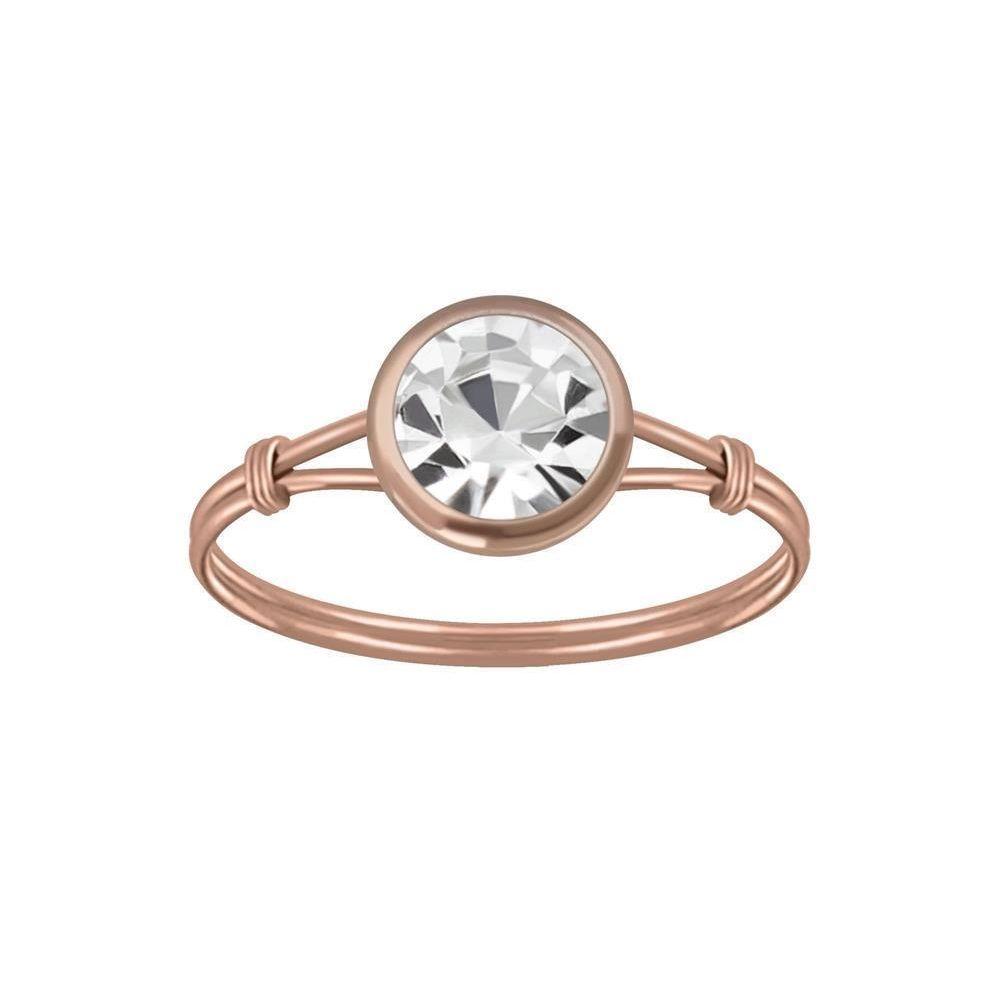 Ring mit rundem Kristall aus 925 Silber Damen 52 (16,6) rosegold