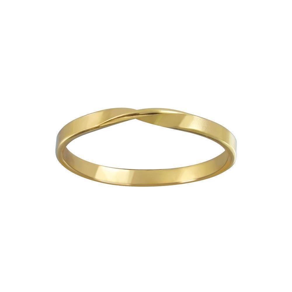 Ring einfach gedreht aus 925 Silber Damen gold 57 (18,1)