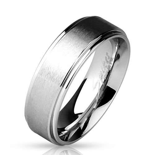 Ring brushed silver middle part made of stainless steel women