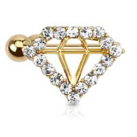 Ohrklemme Diamant Gold Messing Damen