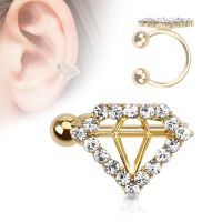 Ear clip diamond gold brass ladies